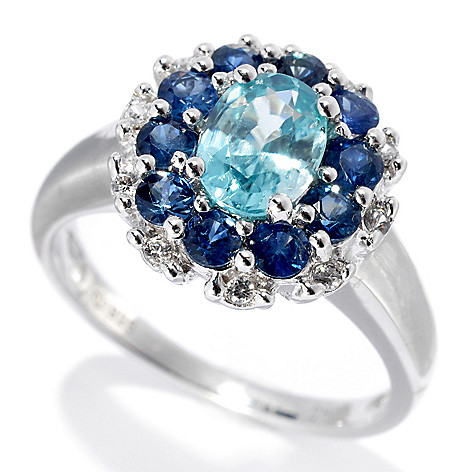 133-185 - Gem Treasures Sterling Silver 1.98ctw Fancy Zircon & Sapphire Double Halo Ring