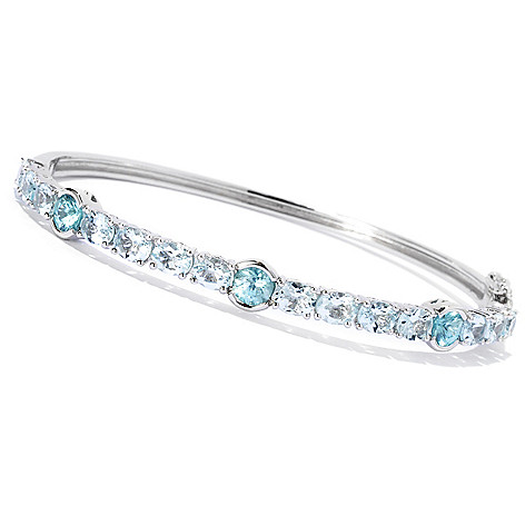 133-186 - Gem Treasures Sterling Silver 5.63ctw Aquamarine & Blue Zircon Bangle Bracelet
