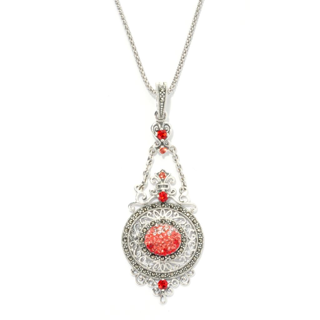 133-187 - Dallas Prince Sterling Silver Enhancer Pendant Made w/ Swarovski® Elements