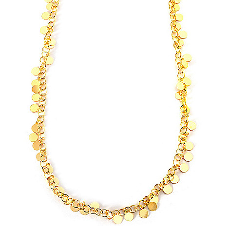133-193 - Portofino Gold Embraced™ 20'' High Polished Sequin Charm Necklace