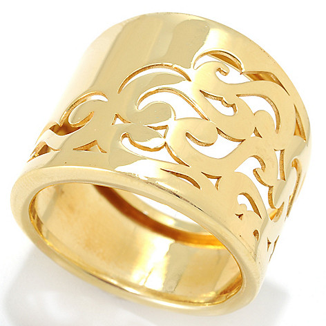 133-198 - Portofino Gold Embraced™ Filigree Cut-out Wide Band Ring