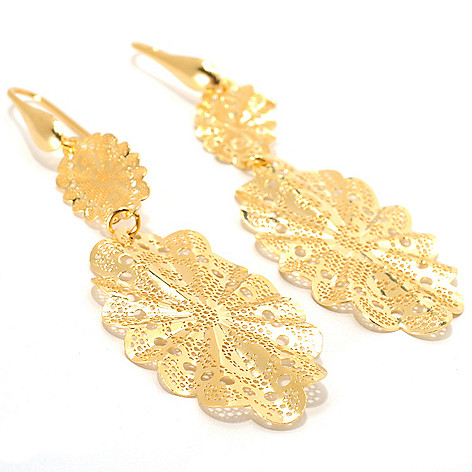 133-201 - Portofino 18K Gold Embraced™ 3'' Polished Openwork Lace Drop Earrings