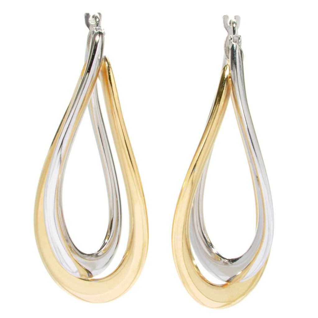 "133-204 - Portofino 18K Gold Embraced™ 1.75"" Two-tone Interlocking Oval Hoop Earrings"