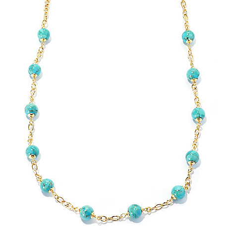 133-205 - Portofino 18K Gold Embraced™ 28'' 10mm Turquoise Station Necklace