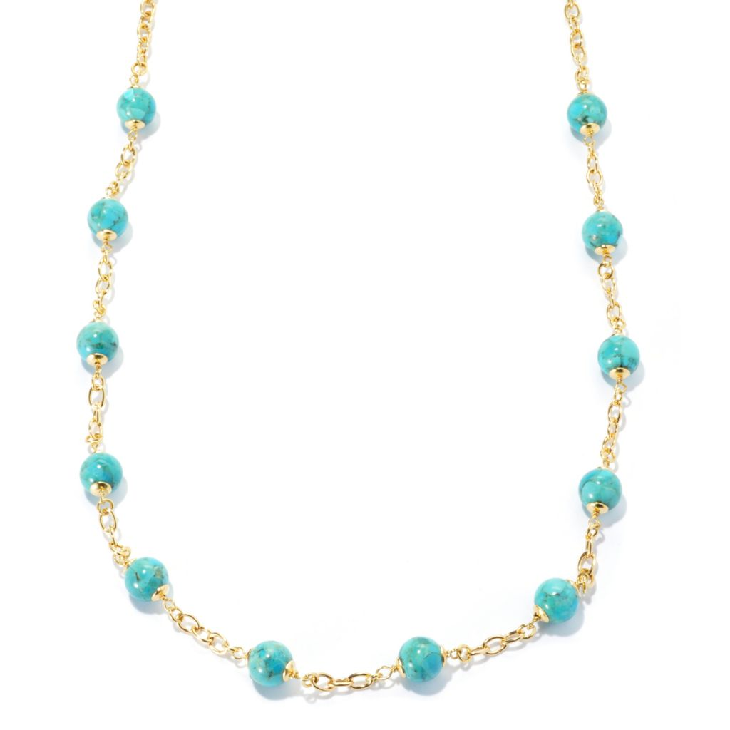 "133-205 - Portofino 18K Gold Embraced™ 28"" 10mm Turquoise Station Necklace"