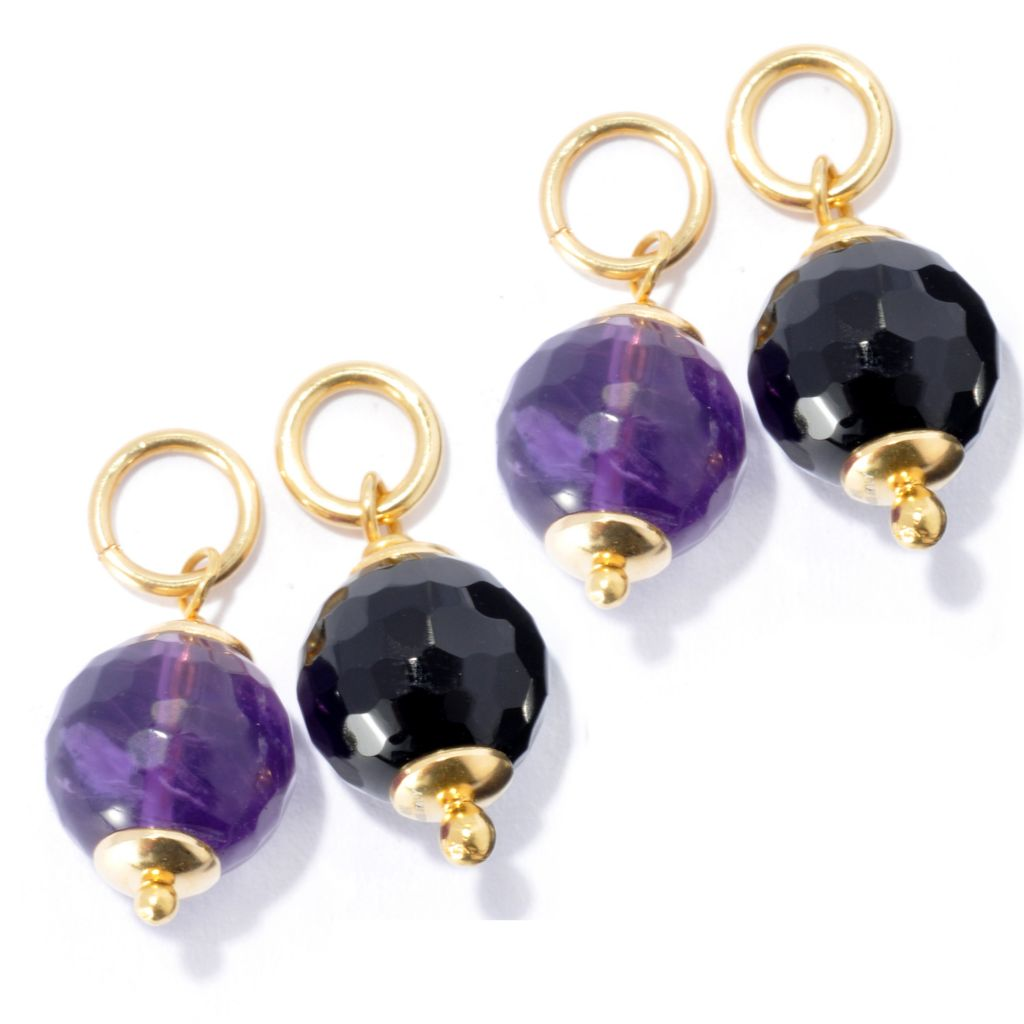 133-215 - Portofino 18K Gold Embraced™ Set of Two 10mm Interchangeable Onyx & Amethyst Charm Beads