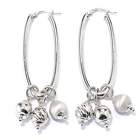 133-217 - Portofino 2.25'' 18K Gold Embraced™ Oval Hoop Earrings w/ Interchangeable Drop Charms