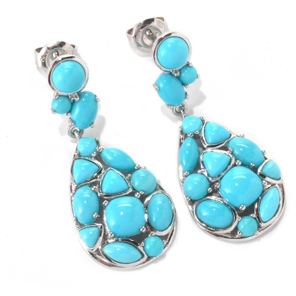 "133-218 - Gem Insider Sterling Silver 1.25"" Sleeping Beauty Turquoise Teardrop Earrings"
