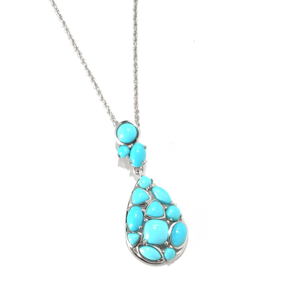133-219 - Gem Insider Sterling Silver Sleeping Beauty Turquoise Teardrop Pendant w/ Chain