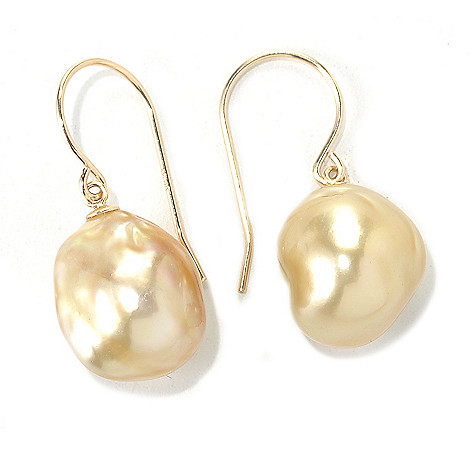 133-223 - 14K Gold 1'' 12-13mm Baroque Golden South Sea Cultured Pearl Hook Earrings