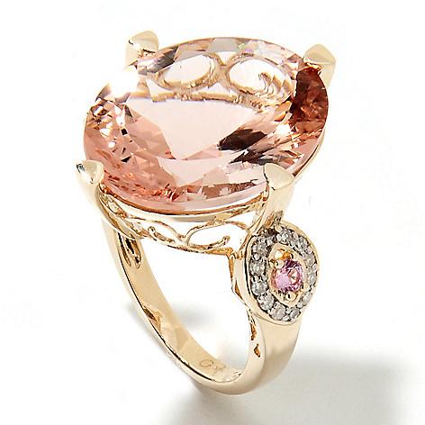 133-227 - Gem Treasures 14K Gold 15.40ctw Morganite, Diamond & Pink Sapphire Scrollwork Ring