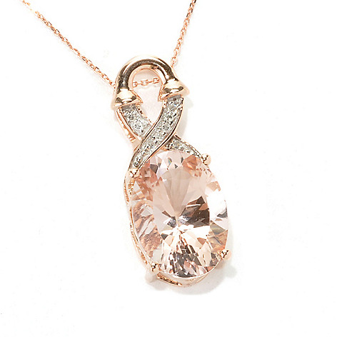 133-229 - Gem Treasures 14K Rose Gold 5.00ctw Morganite & Diamond Pendant w/ 18'' Chain