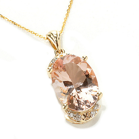 133-230 - Gem Treasures 14K Gold 5.00ctw Oval Morganite & Diamond Pendant w/ 18'' Chain