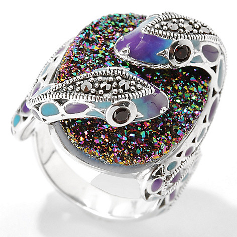 133-237 - Dallas Prince Sterling Silver Drusy Snake Ring Made w/ Swarovski® Marcasite