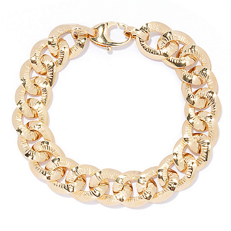 133-240 - Italian Designs with Stefano 14K Gold Textured & Polished Finish Curb Link Bracelet