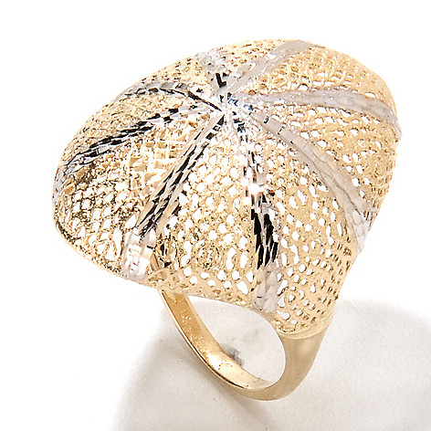 133-254 - Italian Designs with Stefano 14K Two-tone Gold Diamond Cut Oval Ring