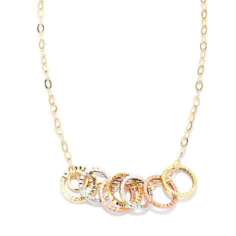 133-258 - Italian Designs with Stefano 18'' 14K Tri-color Textured Rings Necklace