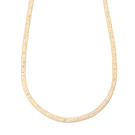 133-266 - Italian Designs with Stefano 14K Gold 18'' Mesh Simulated Diamond Necklace
