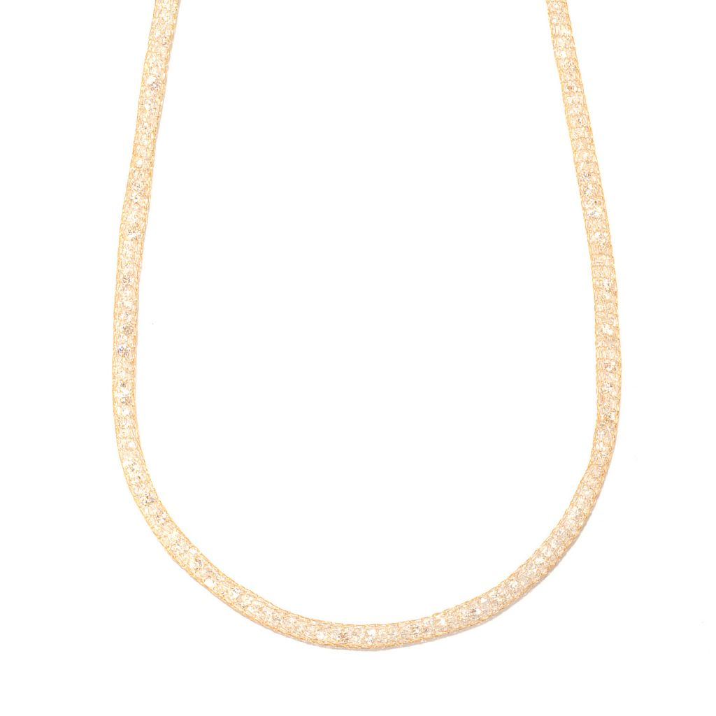 "133-266 - Italian Designs with Stefano 14K Gold 18"" Mesh Simulated Diamond Necklace"