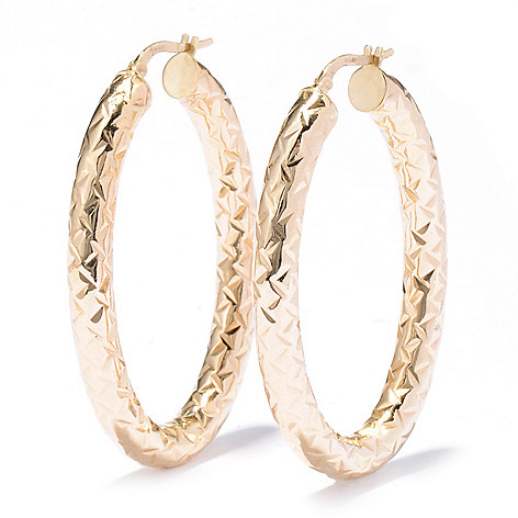 133-274 - Italian Designs with Stefano 14K Gold 2'' Textured Oval Hoop Earrings