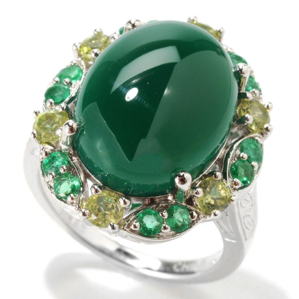 133-284 - Gem Insider Sterling Silver 16 x 12mm Green Agate, Emerald & Peridot Halo Ring