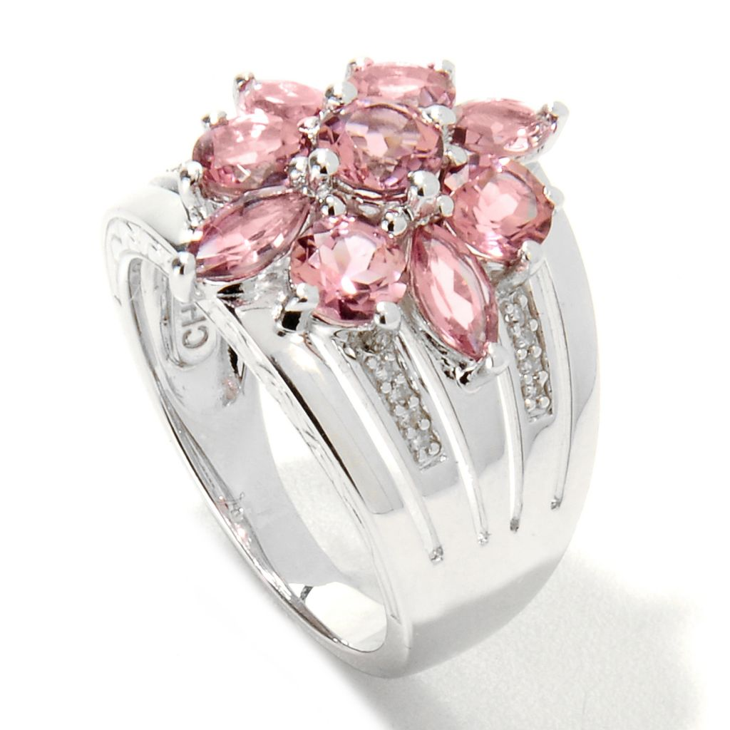 133-287 - Gem Insider Sterling Silver 2.45ctw Diamond & Pink Tourmaline Flower Ring