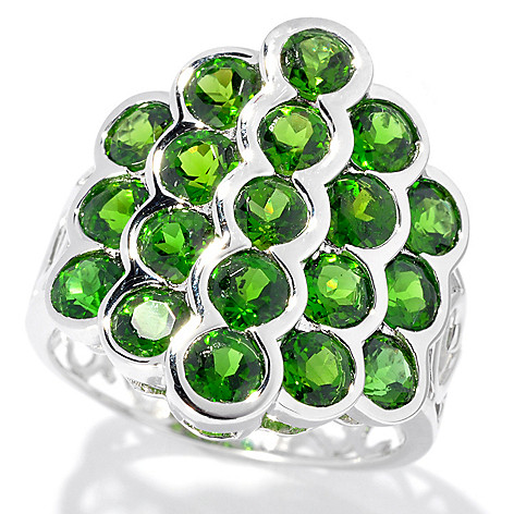133-288 - Gem Insider Sterling Silver 3.52ctw Round Chrome Diopside Multi Level Ring