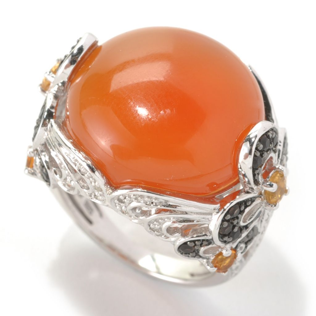 133-289 - Gem Insider Sterling Silver Orange Agate & Multi Gemstone Floral Ring