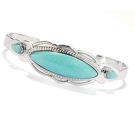 133-290 - Gem Insider Sterling Silver 6.5'' 32 x 10mm Amazonite Fancy Edge Cuff Bracelet