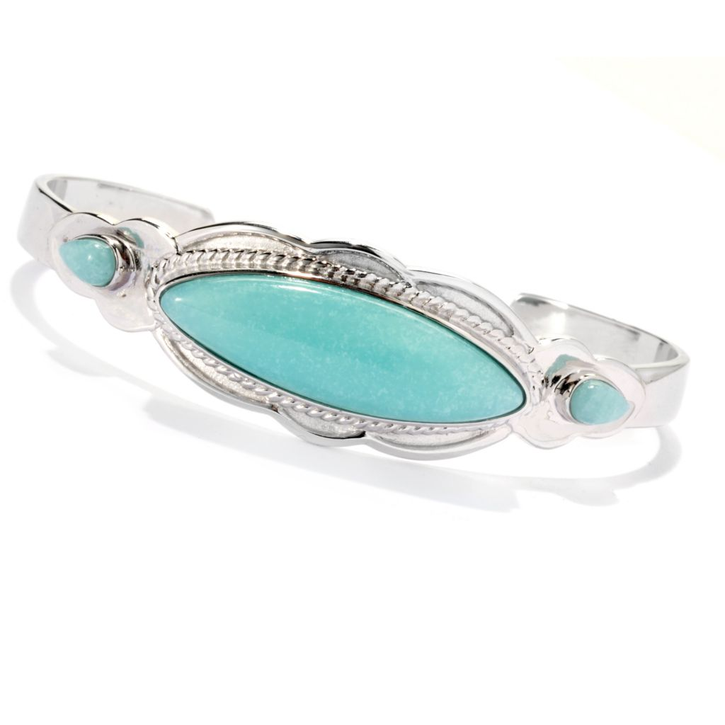 "133-290 - Gem Insider Sterling Silver 6.5"" 32 x 10mm Amazonite Fancy Edge Cuff Bracelet"
