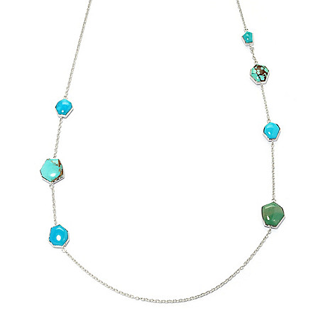 133-292 - Gem Insider Sterling Silver 27'' Freeform American Turquoise Station Necklace