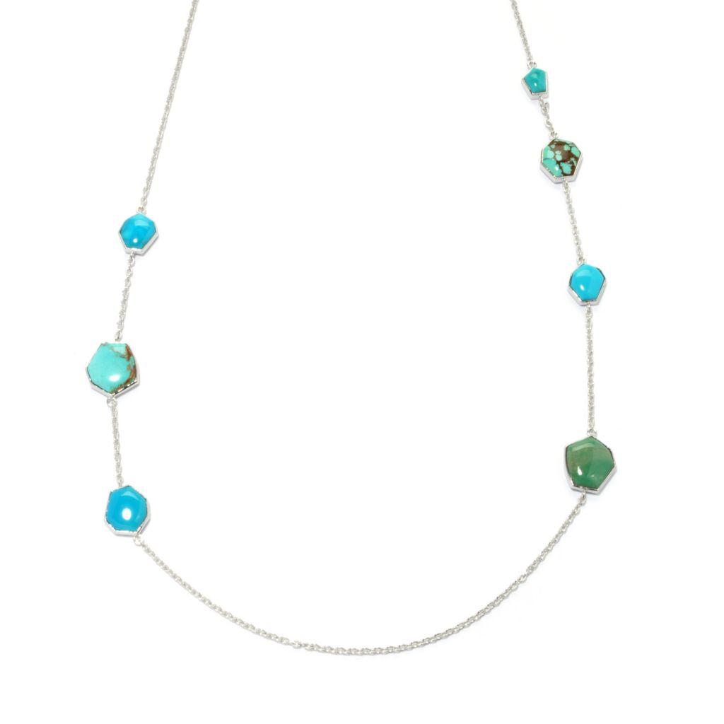 "133-292 - Gem Insider Sterling Silver 27"" Freeform American Turquoise Station Necklace"
