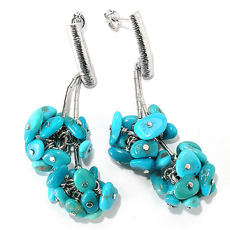 133-295 - Gem Insider Sterling Silver 2.25'' Amercian Turquoise Cluster Drop Earrings