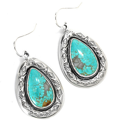 133-297 - Gem Insider™ Sterling Silver 1.5'' 18 x 10mm #8 Turquoise Teardrop Earrings
