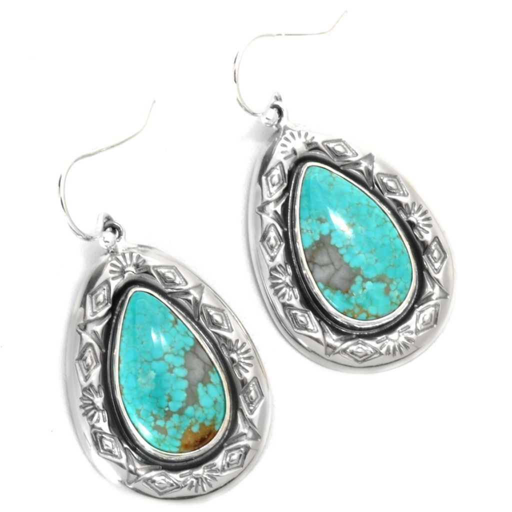 "133-297 - Gem Insider Sterling Silver 1.5"" 18 x 10mm #8 Turquoise Teardrop Earrings"