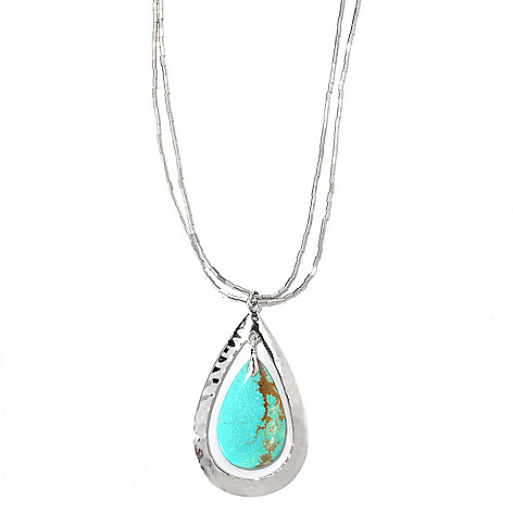 133-298 - Gem Insider Sterling Silver 18'' 27 x 16mm #8 Turquoise Teardrop Necklace