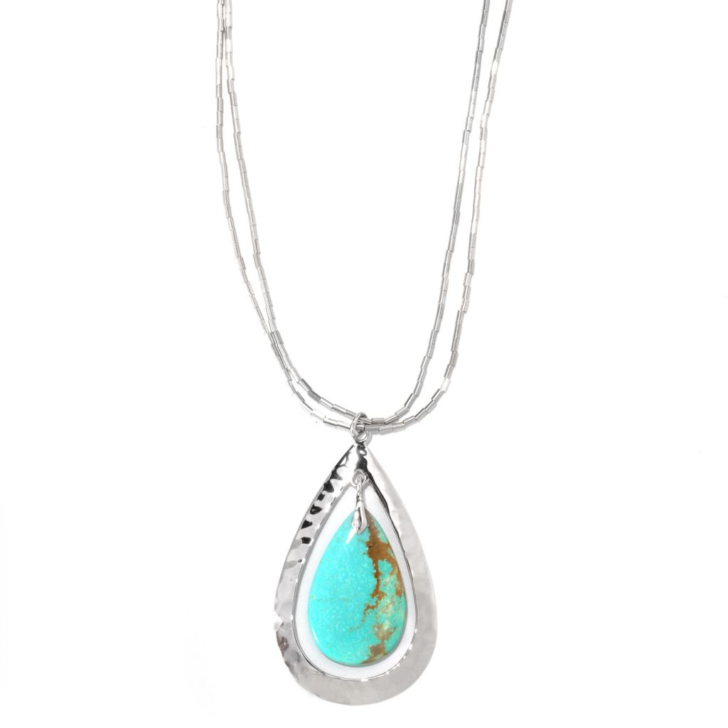 "133-298 - Gem Insider Sterling Silver 18"" 27 x 16mm #8 Turquoise Teardrop Necklace"