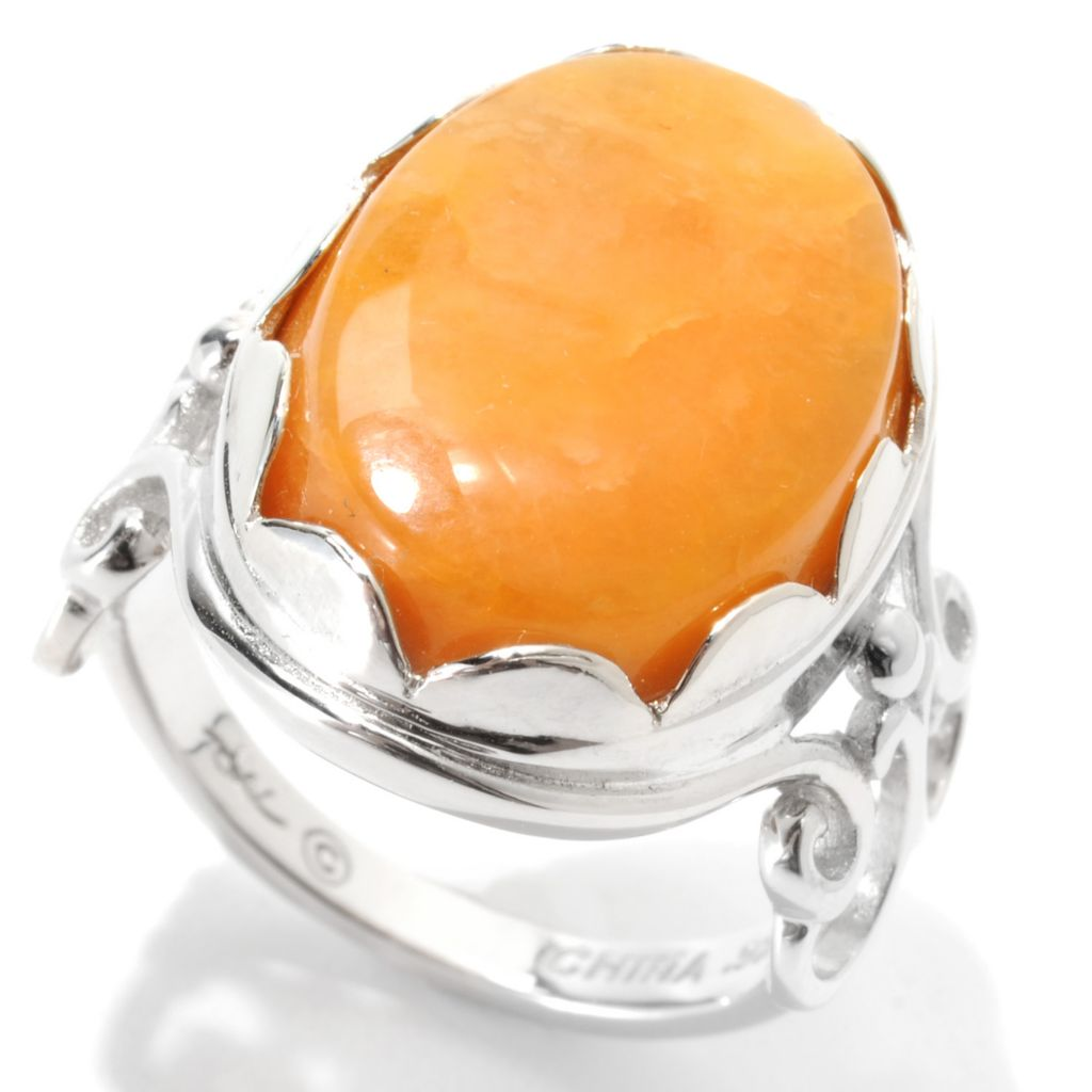 133-299 - Gem Insider Sterling Silver 18 x 13mm Oval Butterscotch Idaho Quartz Ring