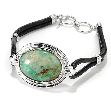 133-300 - Gem Insider™ Sterling Silver & Leather 8.25'' Oval Nevada Terra Verde Toggle Bracelet