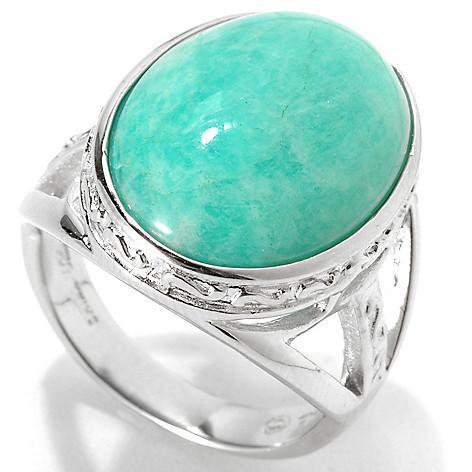 133-303 - Gem Insider Sterling Silver 18 x 13mm Oval Amazonite Split Shank Ring