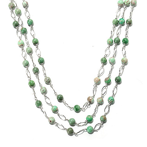 133-304 - Gem Insider Sterling Silver 18'' Utah Variscite Three-Strand Station Necklace