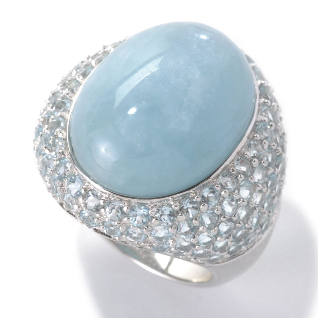 133-324 - Gem Treasures Sterling Silver 20 x 15mm Oval Aquamarine & Sky Blue Topaz Ring