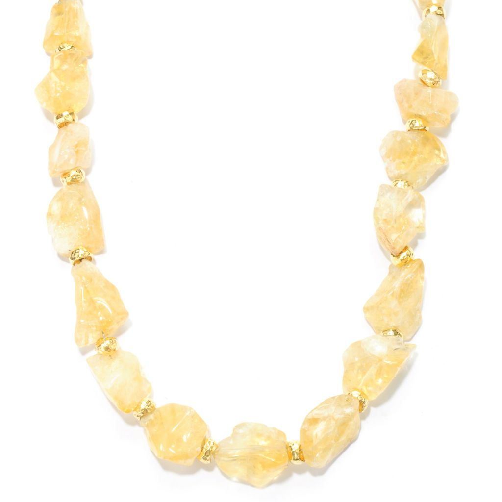 "133-328 - Toscana Italiana Gold Embraced™ 20"" Citrine Nugget & Hammered Bead Necklace"