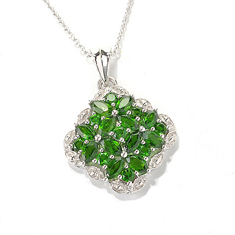 133-331 - Gem Treasures Sterling Silver 1.98ctw Chrome Diopside Framed Pendant w/ Chain