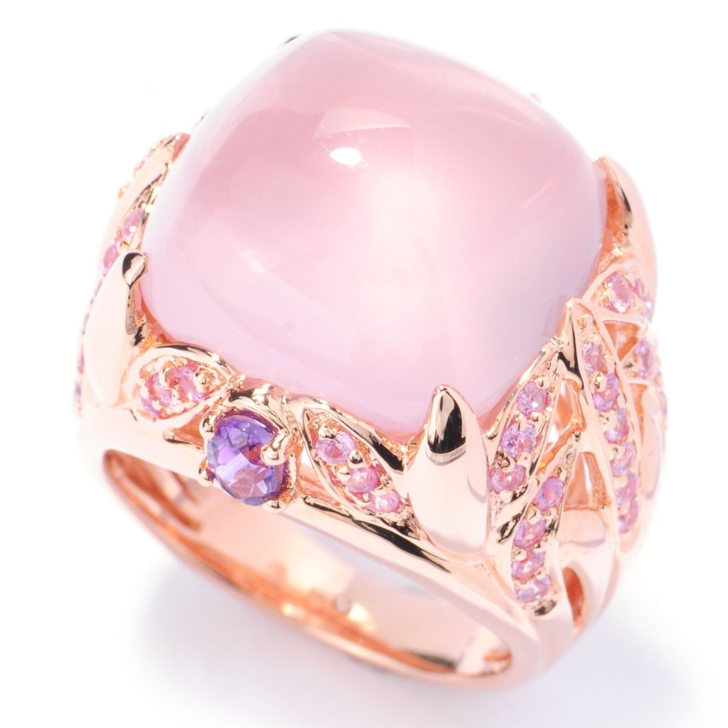 133-336 - Dallas Prince 16mm Rose Quartz, Pink Sapphire & Amethyst Cut-out Leaf Ring