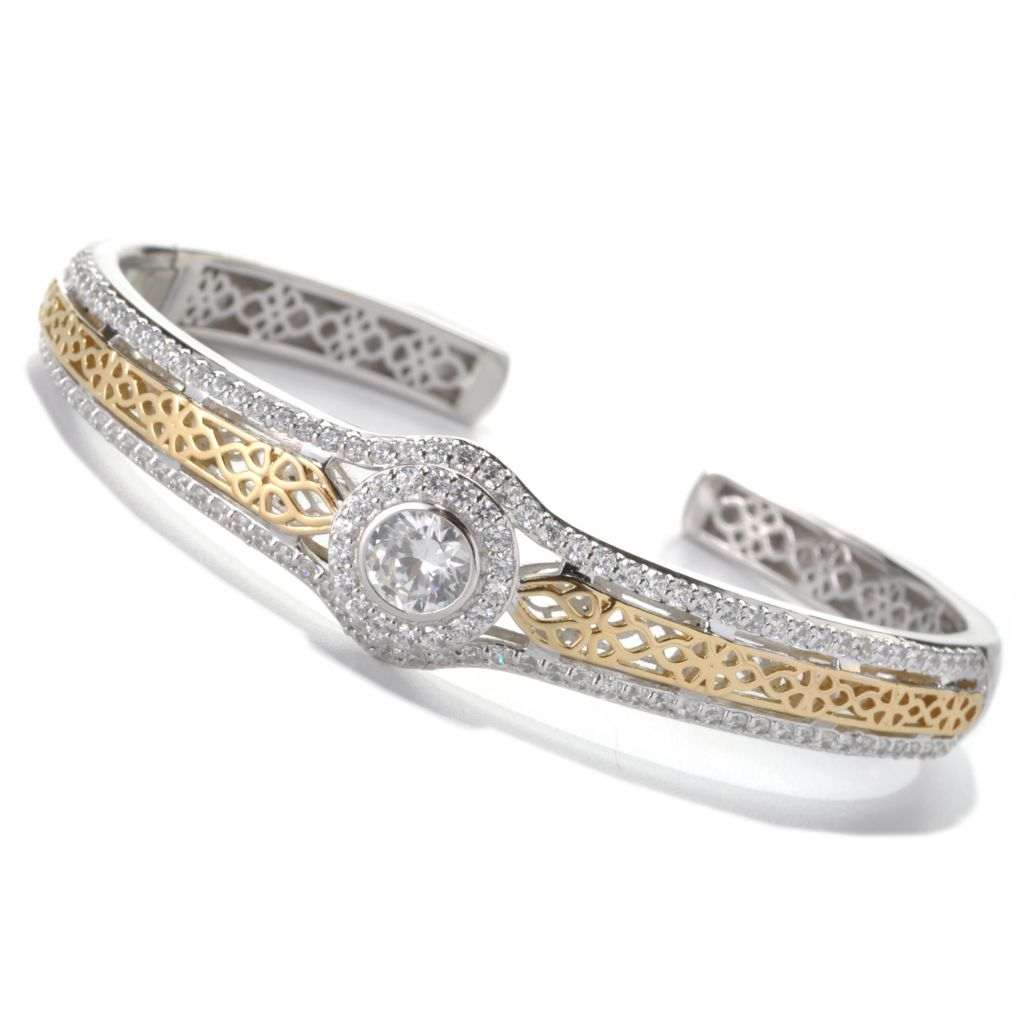 133-346 - RITANI™ Two-tone 3.84 DEW Round Simulated Diamond Filigree Detailed Halo Cuff Bracelet
