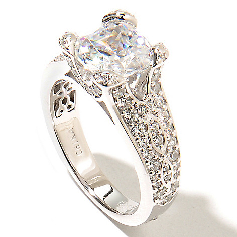 133-348 - RITANI™ Platinum Embraced™ 3.33 DEW Cushion Cut & Pave Simulated Diamond Split Shank Rin