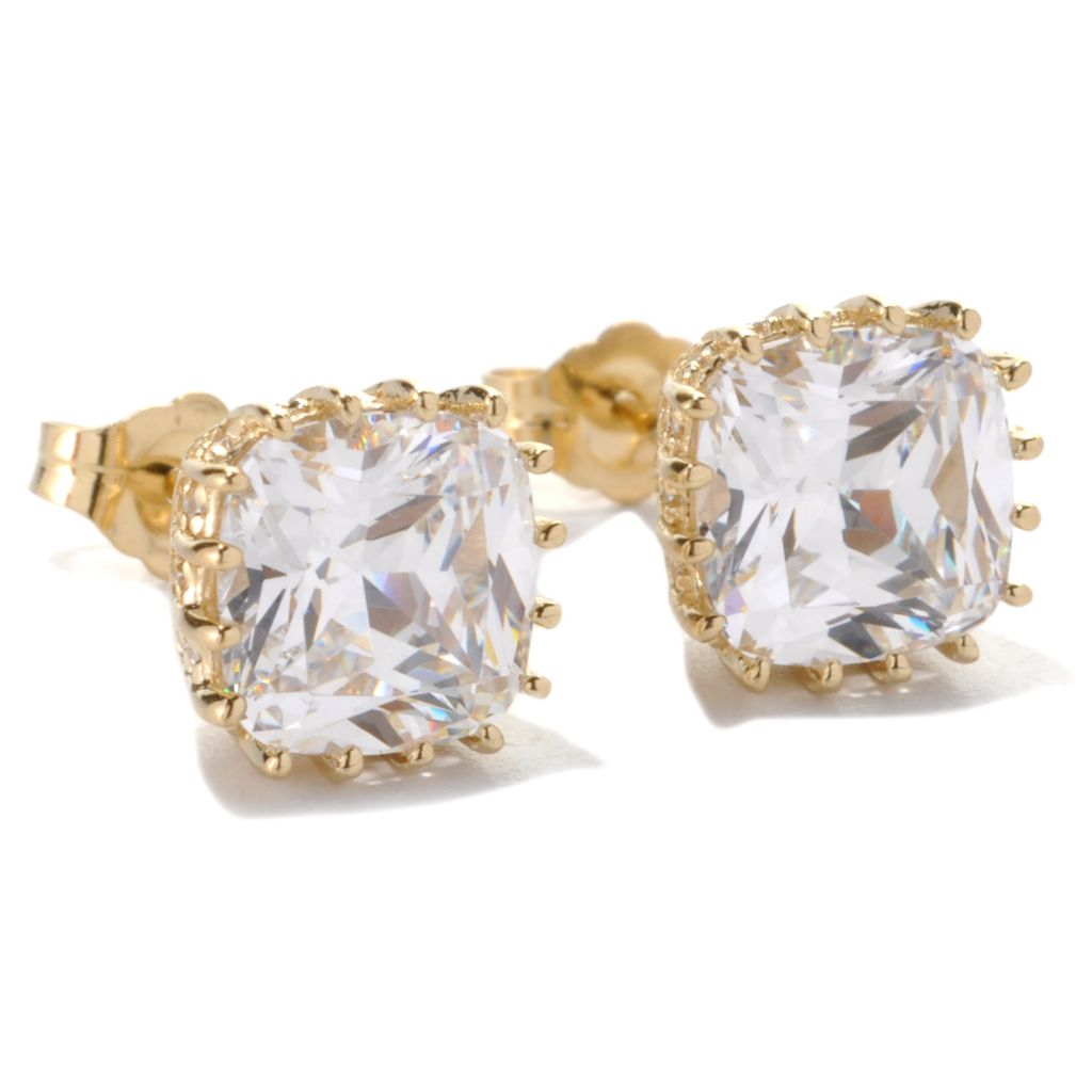 133-349 - RITANI™ 5.51 DEW Round & Cushion Cut Simulated Diamond Stud Earrings