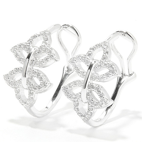 133-351 - RITANI® Platinum Embraced™ 1'' 1.26 DEW Round Simulated Diamond Logo Hoop Earrings