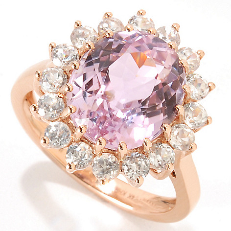 133-356 - Gem Treasures 14K Rose Gold 5.66ctw Kunzite & White Zircon Halo Ring